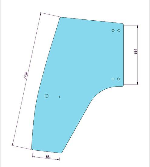 Picture of LH Door Glass 6 Holes - MI-SG1013