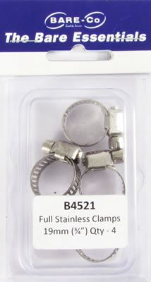 """Picture of Bare Essentials 3/4"""" Stainless Hose Clamp (Qty 4) - B4521"""
