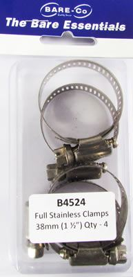 """Picture of Bare Essentials 1.1/2"""" Stainless Hose Clamp (Qty 4) - B4524"""
