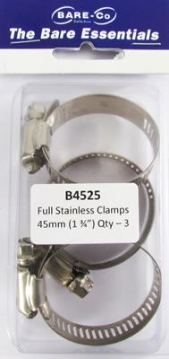 """Picture of Bare Essentials 1.3/4"""" Stainless Hose Clamp (Qty 3) - B4525"""