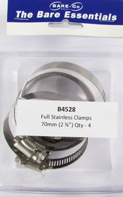 """Picture of Bare Essentials 2.3/4"""" Stainless Hose Clamp (Qty 4) - B4528"""